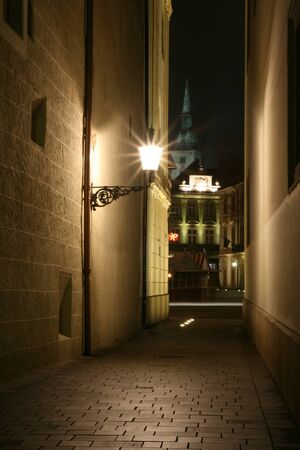 defile: Old streets of bratislava in the night