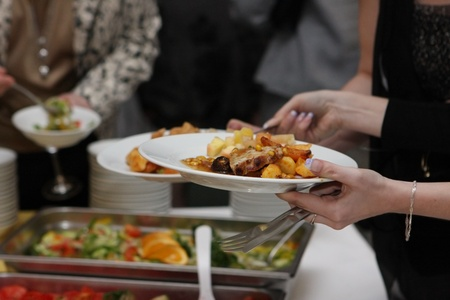 Catering - food, plate and hand photo