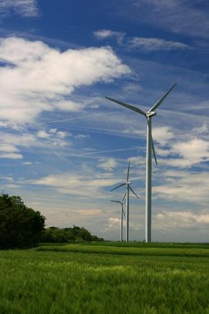 ampere: Wind mills plant, blue sky, grass