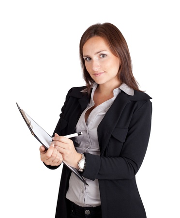 Businesswoman writing on a clipboard photo