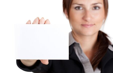 Young businesswoman holding business blank card