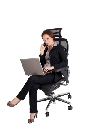 Business woman with phone and laptop Isolated on white background Stock Photo - 13378256