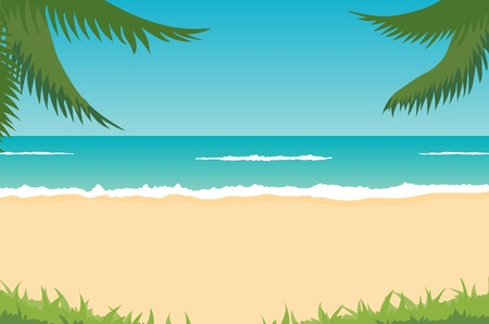 tropical landscape - beach, sea, waves, palms Vector