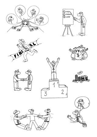 hotline: lustig Gesch�ftsleute Sammlung - Cartoon Illustration