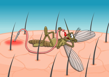 Cartoon mosquito lying and drinking blood Illustration