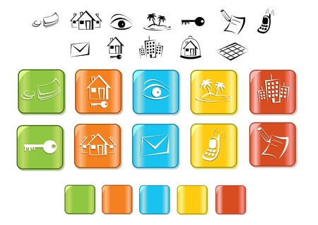 real estate icon  button  set Vector