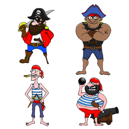 sombrero pirata: Cuatro piratas de dibujos animados sobre un fondo blanco Vectores