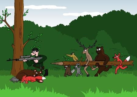 venganza: Broma de dibujos animados - cazador y los animales Vectores