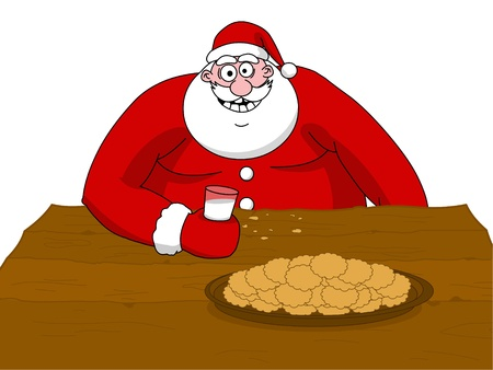 Big fat Santa Claus eating cookies and drinking milk
