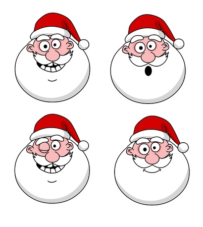 santaclaus: Four funny Santa Claus heads - set Illustration