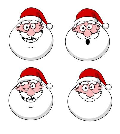weihnachtsmann lustig: Vier lustige Weihnachtsmann Köpfe - Set