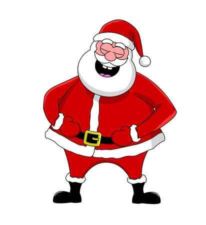 Funny laughing Santa Claus, isolated  Illustration