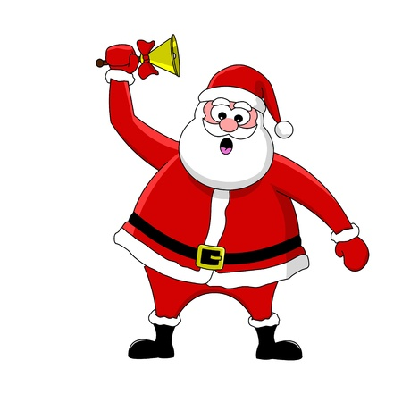 Funny cartoon Santa Claus and bell Stock Vector - 13420719