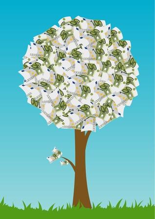 grow money: One hundred euro tree, blue sky