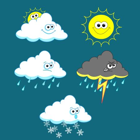 Weather icon set on blue background Vector
