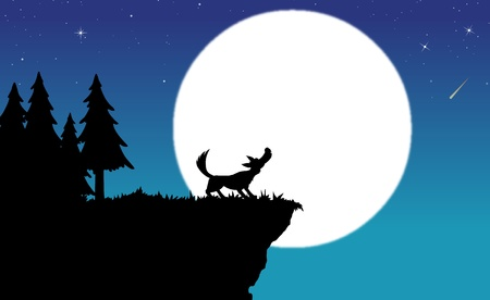 wolf howling to moon - silhouette Illustration