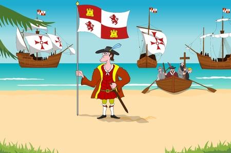 descubridor: Descubridor Cristóbal Colón de 1492 del Nuevo Mundo Foto de archivo