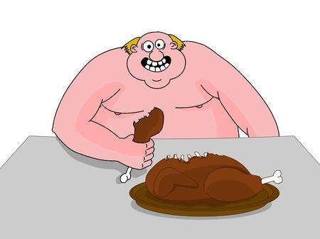 eat cartoon: Big fat man eating duck