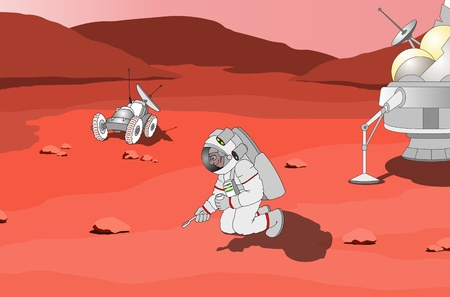 space suit: Astronaut on planet Mars Stock Photo