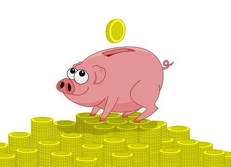 Pink pig money box and falling coins photo