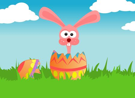 Easter pink bunny in the easter egg photo