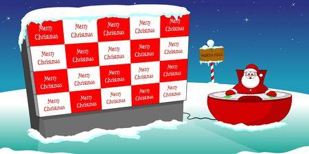 big screen: santa, big screen ant text  Merry Christmas