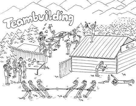 togetherness: Cartoon and funny teambuilding, outdoor scene