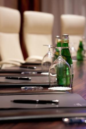 Boardroom meeting: Detail of the meeting room