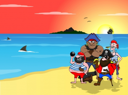 Four cartoon pirates and island Stock Photo