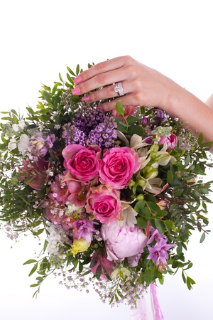 betrothal: Betrothal bouquet, hand and ring - isolated