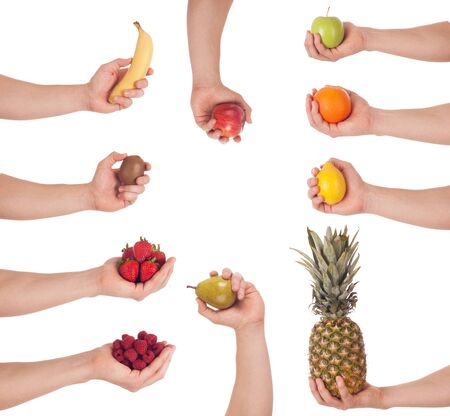 Set of hand with fruit, isolated photo