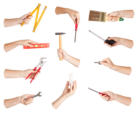 Set of hand with tool, isolated photo