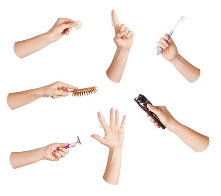 Set of hand with tool - hygiene, care photo