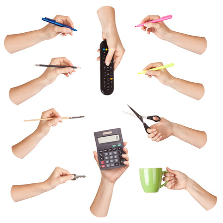 Set of hand with office tool, isolated photo
