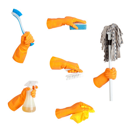 Hand in glove, tool set, isolated