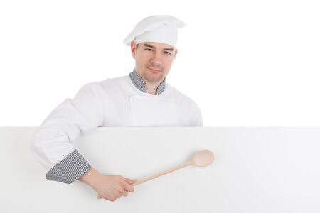 culinary skills: Chef holding spoon with blank board. Isolated on white background