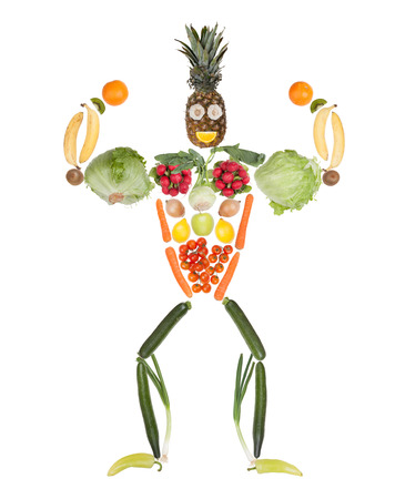 Fruits and vegetables in the shape of fitness body - muscular bodybuilder
