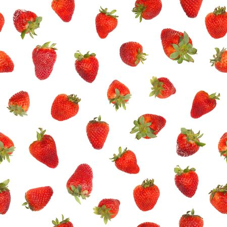 Seamless strawberry pattern, isolated on white background Stock Photo