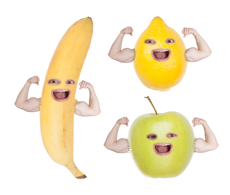 funny fruit: Set of funny fruit faces with strong hands ? apple, banana, lemon. Isolated on white background. Stock Photo