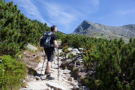 tatry: Sportive man on the mountain trek. Tatry, Slovakia
