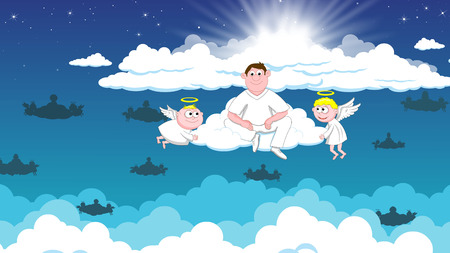 heaven: Angels in heaven and deceased Stock Photo