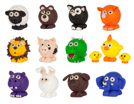 Cute plasticine animals collection. Isolated on white background.