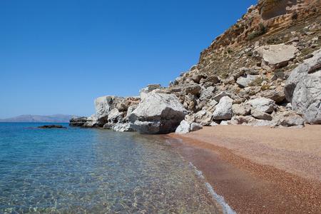 rhodes: Red sand beach, Rhodes island, Greece Stock Photo