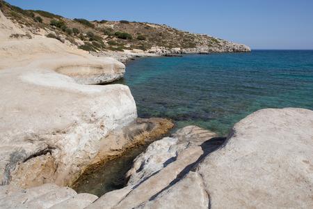 Kolymbia beach with rocky coast, Rhodes island, Greece