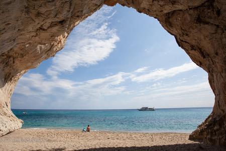 View from inside of cave, Cala Luna beach, Sardinia, Italy Stock Photo
