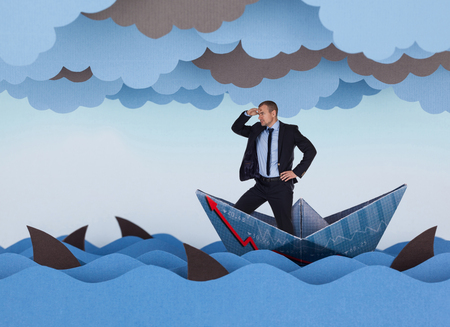 Businessman looking for new opportunities and sailing in stormy papers sea. Paper waves, clouds, boat and sharks.