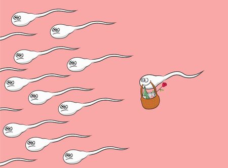 Swimming sperms and one romantic sperm. Cartoon joke, vector illustration.