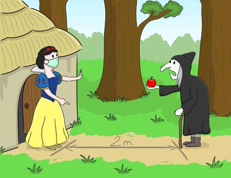 Snow White wears a protective medical mask to prevent the Covid-19 virus and maintains social distancing. Coronavirus, social isolation and quarantine concept.