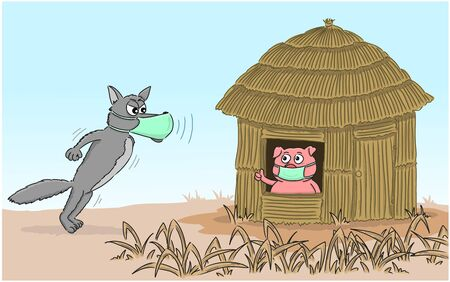 Little pig and wolf wears a protective medical mask to prevent the Covid-19 virus. Coronavirus, social isolation and quarantine concept.