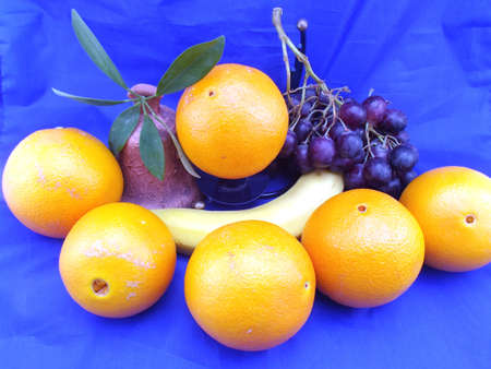 fruits composition on blue background Stock Photo - 15496503